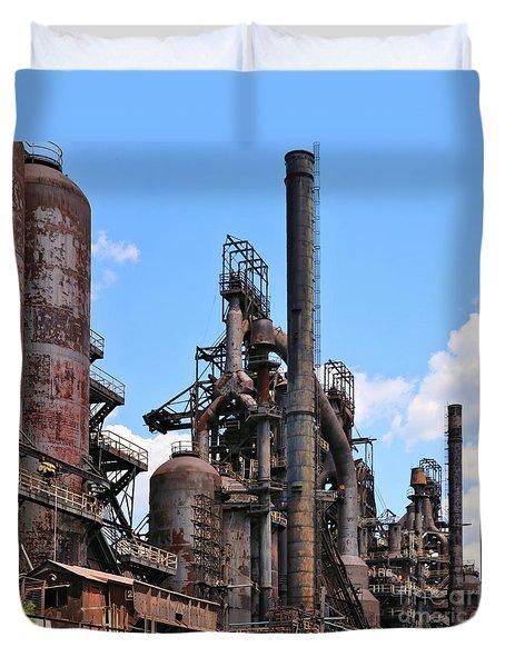 Duvet Cover featuring the photograph Steelstacks by DJ Florek