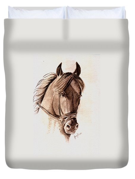 Steely Black Stallion Duvet Cover by Remy Francis