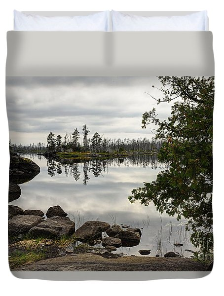 Duvet Cover featuring the photograph Steely Day by Larry Ricker