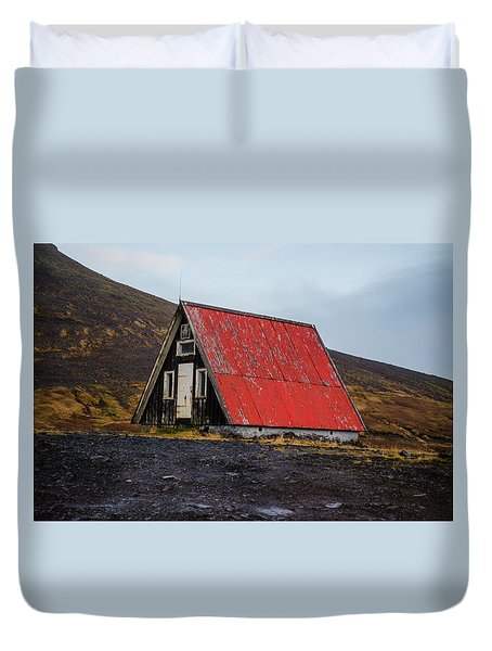 Steep Roof Barn Western Iceland Duvet Cover