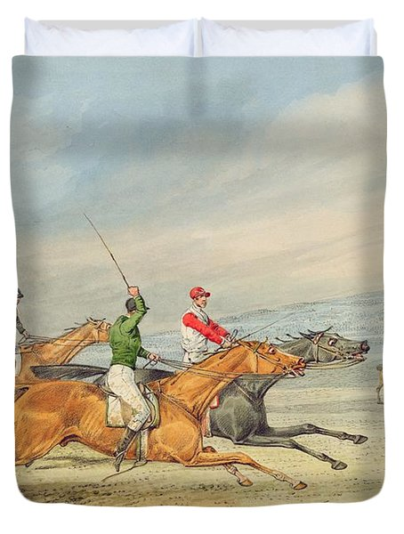 Steeplechasing Duvet Cover by Henry Thomas Alken