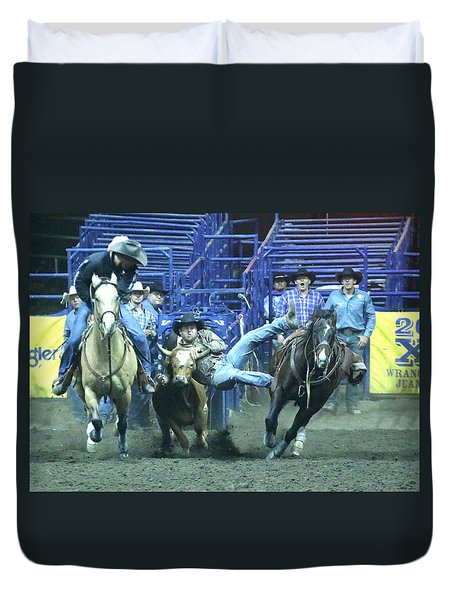 Duvet Cover featuring the photograph Steer Roping At The Grand National Rodeo by John King