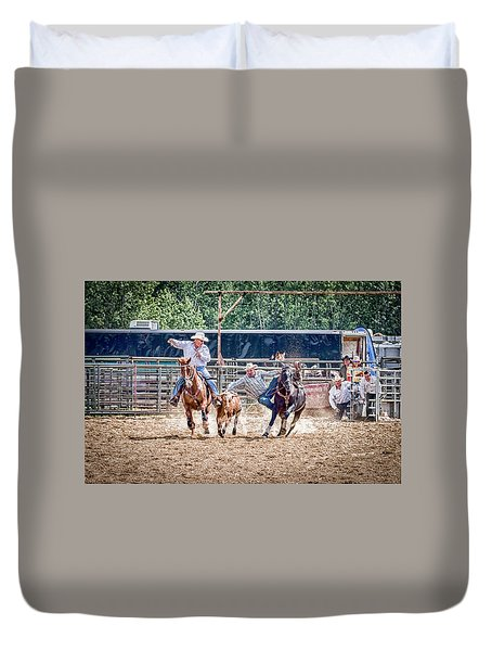 Duvet Cover featuring the photograph Steer Wrestling With An Audience by Darcy Michaelchuk