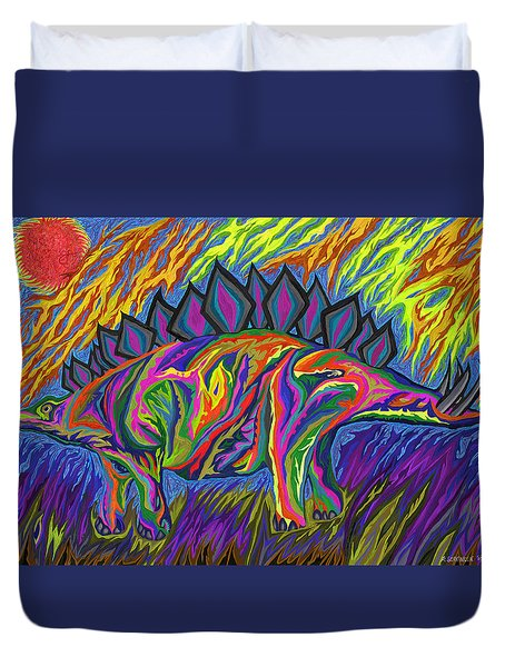 Stegasaurus Colorado Duvet Cover by Robert SORENSEN
