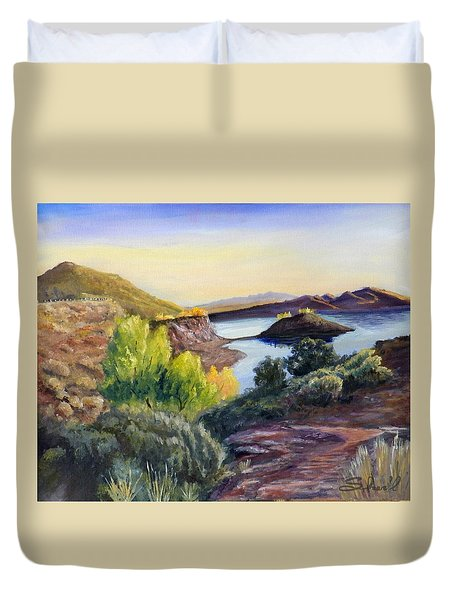Duvet Cover featuring the painting Steinaker by Sherril Porter
