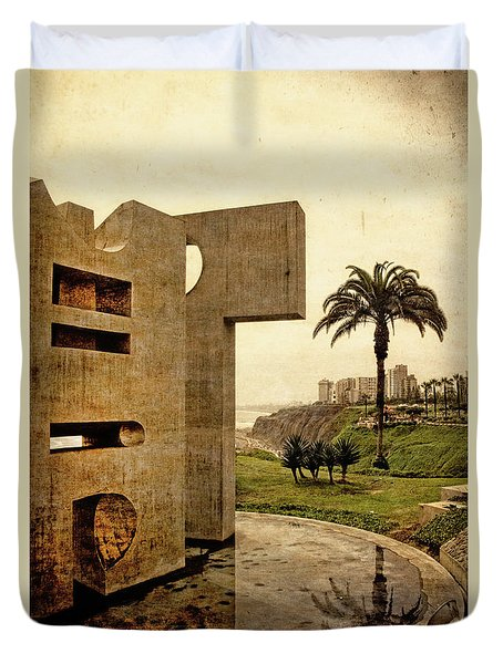 Duvet Cover featuring the photograph Stelae In The Park - Miraflores Peru by Mary Machare