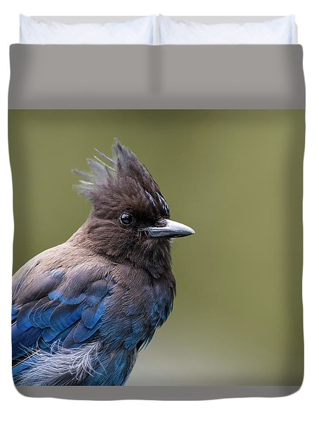 Duvet Cover featuring the photograph Steller's Jay Portrait by Kathy King
