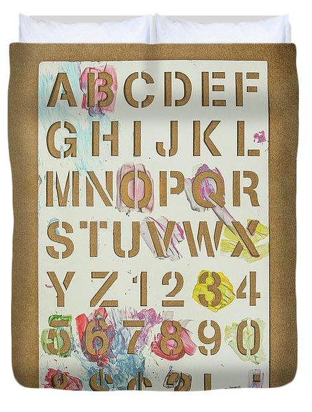 Stencil Alphabet Fun Duvet Cover