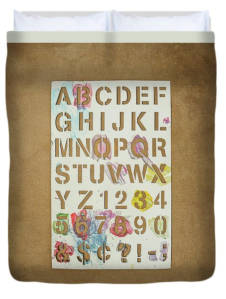 Stencil Alphabet Fun Duvet Cover