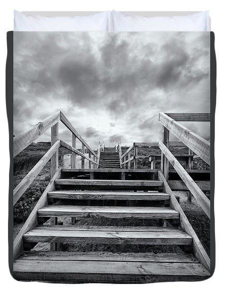 Duvet Cover featuring the photograph Step On Up by Linda Lees