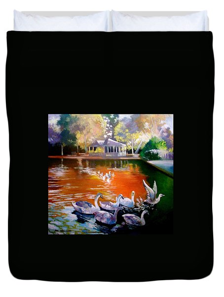 Duvet Cover featuring the painting Stephens Green Dublin Ireland by Paul Weerasekera