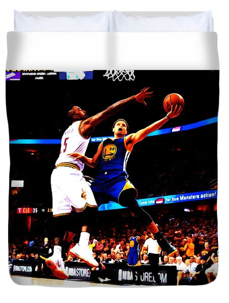 Steph Curry Left Hand Duvet Cover by Brian Reaves
