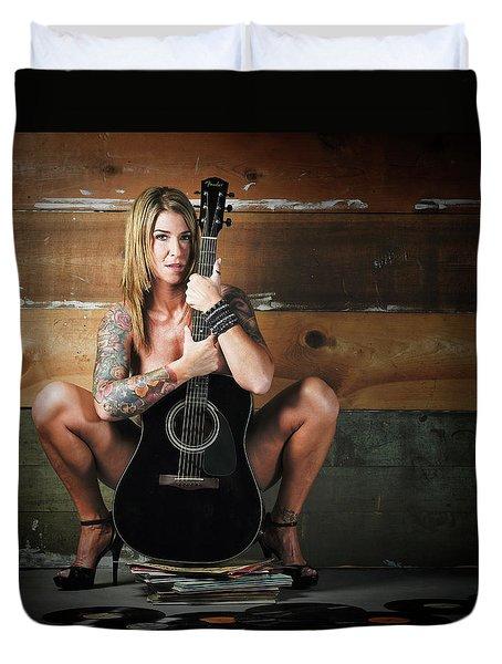 Stephanie W/guitar Duvet Cover