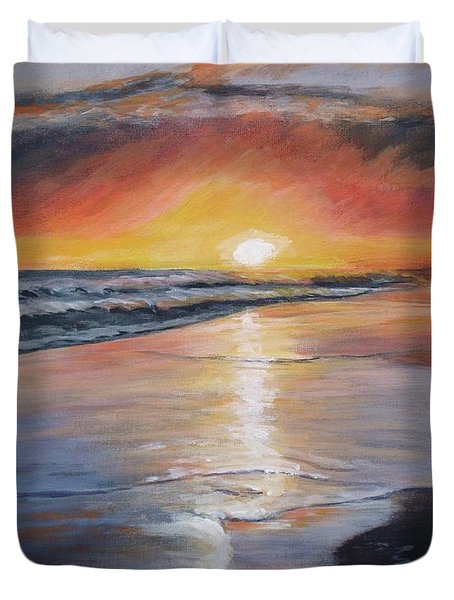 Duvet Cover featuring the painting Stephanie's Sunset by Donna Tuten