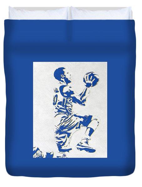 Stephen Curry Golden State Warriors Pixel Art Duvet Cover