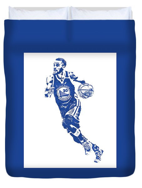 Stephen Curry Golden State Warriors Water Color Pixel Art 1 Duvet Cover