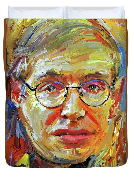 Stephen Hawking Tribute Portrait 4 Duvet Cover