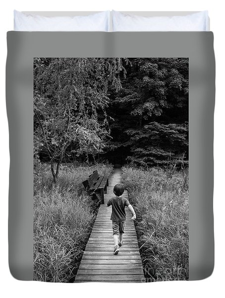 Duvet Cover featuring the photograph Stepping Into Adventure - D009927-bw by Daniel Dempster