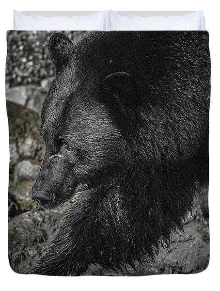 Stepping Into The Creek Black Bear Duvet Cover