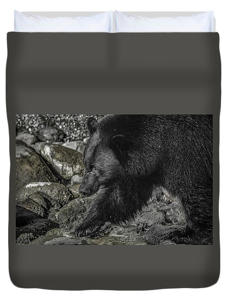 Stepping Into The Creek Black Bear Duvet Cover