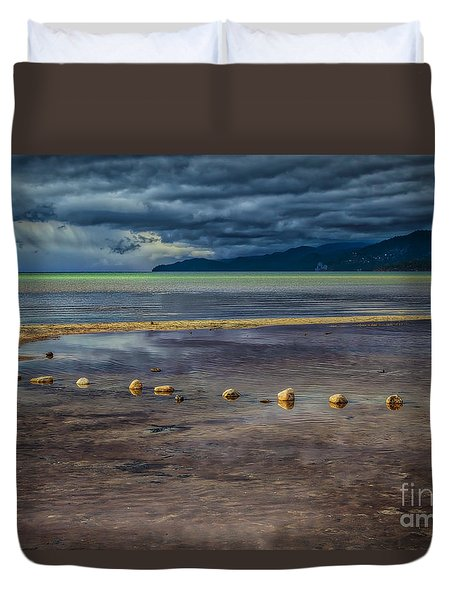 Duvet Cover featuring the photograph Stepping Stones by Mitch Shindelbower