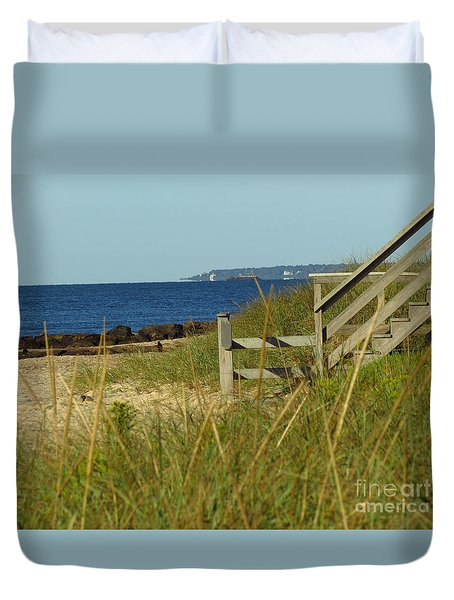 Steps Away From The Ocean Duvet Cover