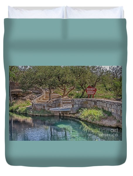 Duvet Cover featuring the photograph Steps Leading To The Blue Hole by Sue Smith