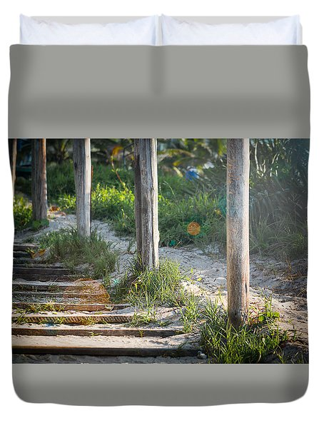 Steps Off The Beach Duvet Cover