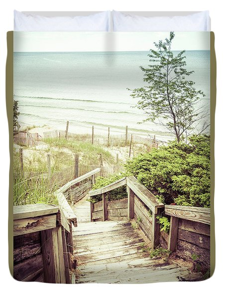 Duvet Cover featuring the photograph Steps To Lake Michigan by Joel Witmeyer