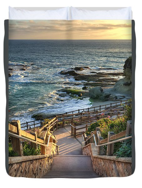 Steps To Treasure Island Beach Duvet Cover by Eddie Yerkish