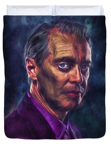 Duvet Cover featuring the photograph Steve Buscemi Actor Painted by David Haskett