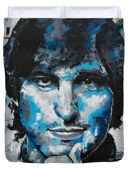 Duvet Cover featuring the painting Steve Jobs II by Richard Day