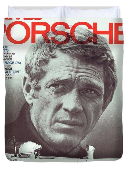 Steve Mcqueen Drives Porsche Duvet Cover