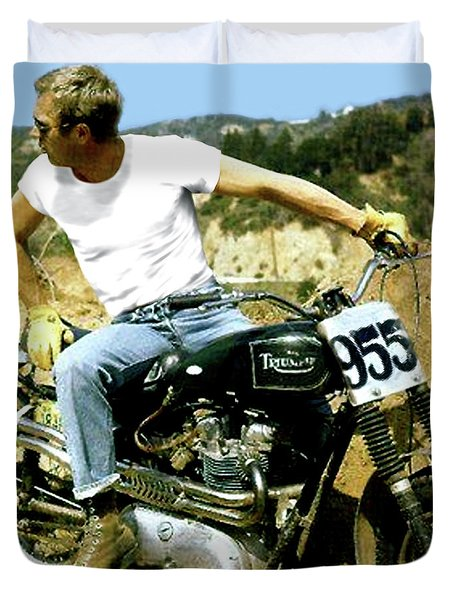 Steve Mcqueen, Triumph Motorcycle, On Any Sunday Duvet Cover
