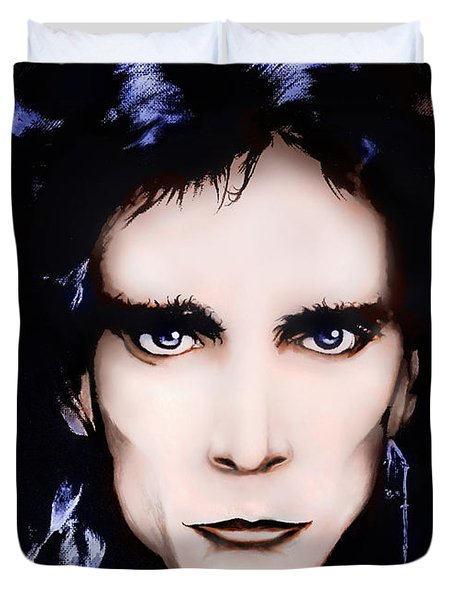 Duvet Cover featuring the painting Steve Vai by Curtiss Shaffer