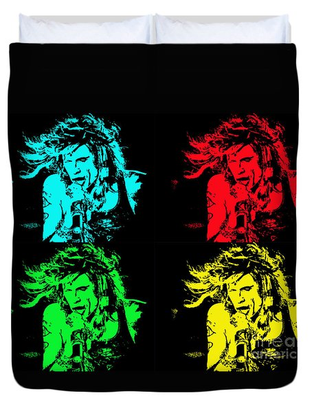 Duvet Cover featuring the photograph Steven Tyler Pop Art by Traci Cottingham