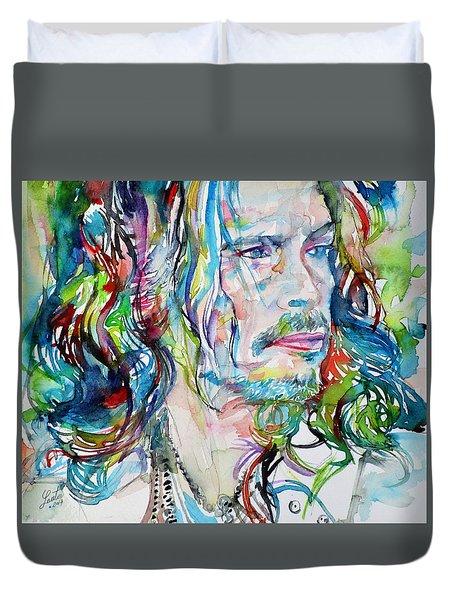 Steven Tyler - Watercolor Portrait Duvet Cover