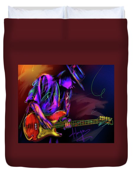 Stevie Ray Vaughan Duvet Cover by DC Langer