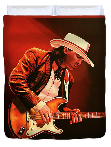Stevie Ray Vaughan Painting Duvet Cover