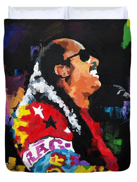 Duvet Cover featuring the painting Stevie Wonder Live by Richard Day
