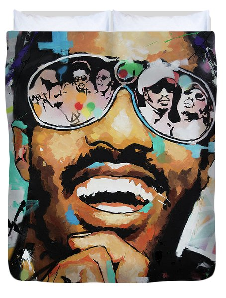 Stevie Wonder Portrait Duvet Cover
