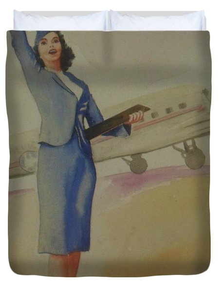 Stewardess And Dc3 Duvet Cover