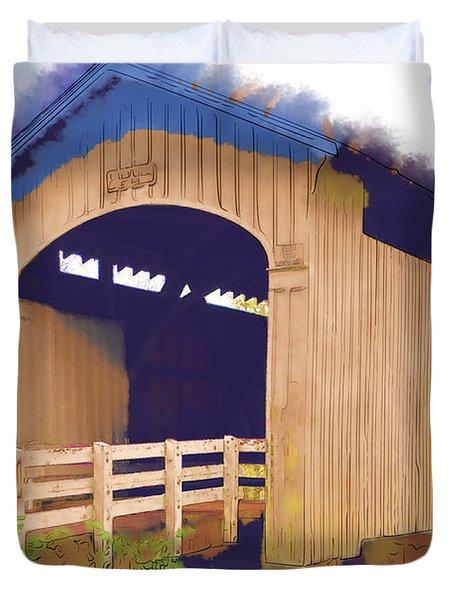 Stewart Bridge In Watercolor Duvet Cover
