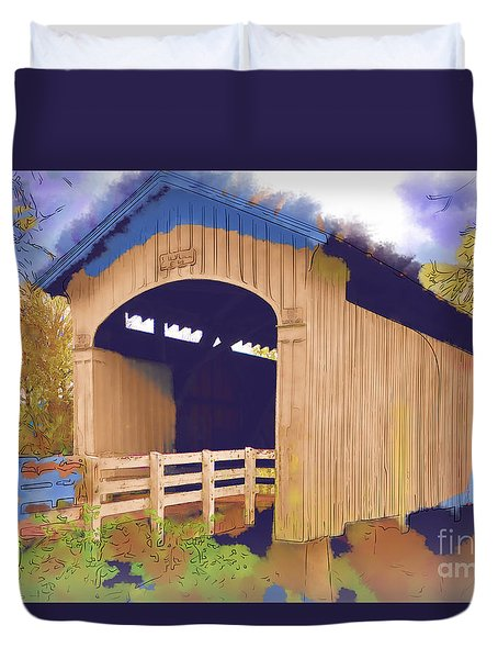Stewart Bridge In Watercolor Duvet Cover