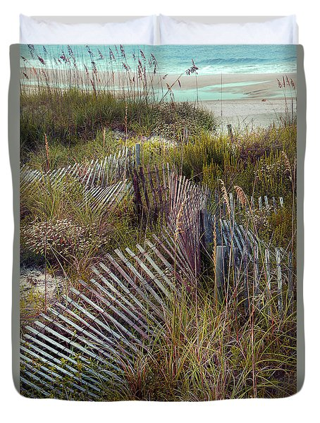 Duvet Cover featuring the photograph Stick Fence Ocean by Linda Olsen
