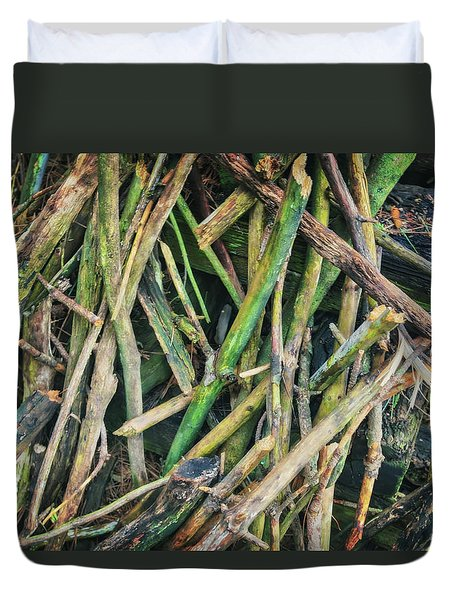 Stick Pile At Retzer Nature Center Duvet Cover by Jennifer Rondinelli Reilly - Fine Art Photography