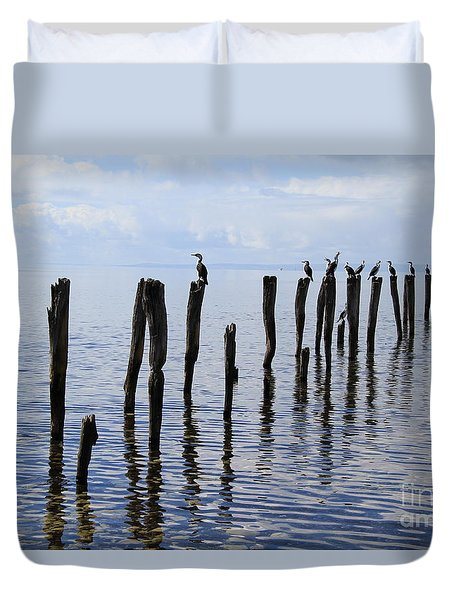 Duvet Cover featuring the photograph Sticks Out To Sea by Stephen Mitchell