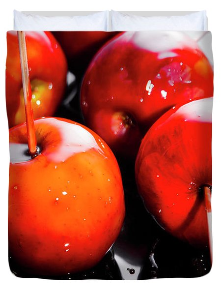 Sticky Red Toffee Apple Childhood Treat Duvet Cover