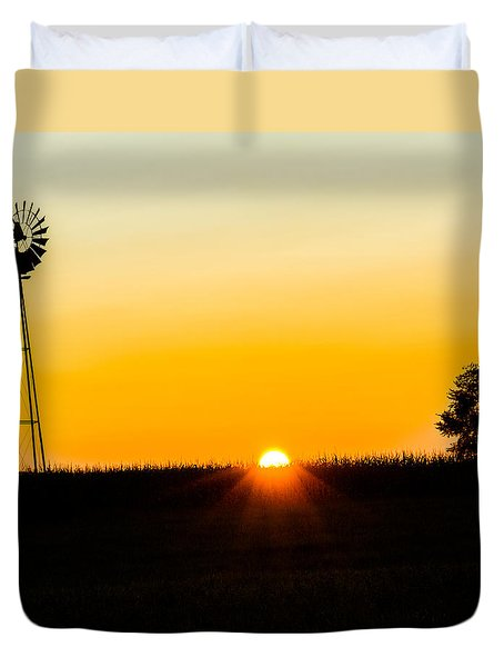 Duvet Cover featuring the photograph Still Country Sunset Silhouette by Chris Bordeleau