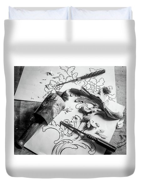 Still Life Carving Still Life Duvet Cover